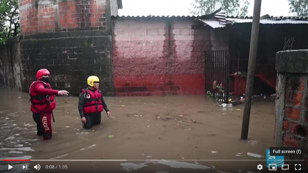 Rescuers in the water after Hurricane Amanda. Screen shot from the video by France 24
