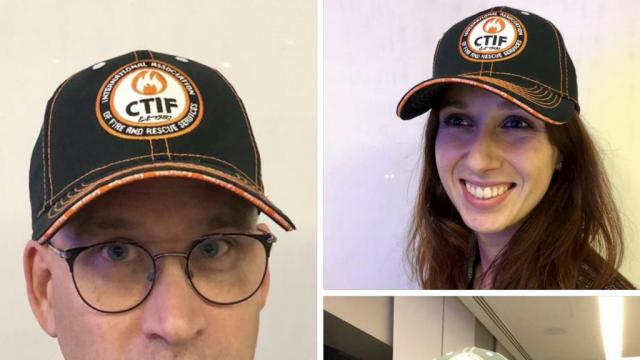 CTIF caps modelled by CTIF staff Björn Ulfsson and Neza Strmole